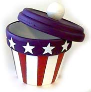 4th of July Crafts Patriotic Painted Pot or Candy Jar