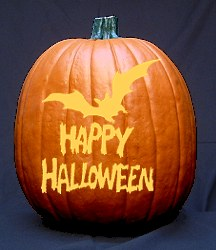 Ordinaire Bat And U0027Happy Halloweenu0027 Text Pumpkin Carving Pattern