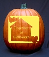 Birdhouse Pumpkin Carving Pattern with Text Choices