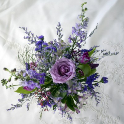 Blue and Purple Rose Wedding Bouquet