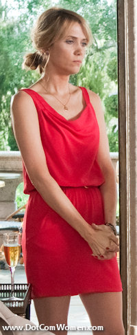 Red wrap dress worn by Kristen Wiig at the Bridal shower in Bridesmaids