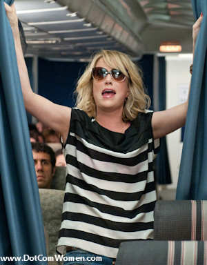 Kristen Wiig's black and white striped top in the Flight scene from Bridesmaids