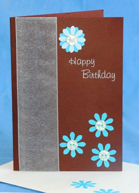 Brown And Blue Daisy Birthday Card Handmade Making Project