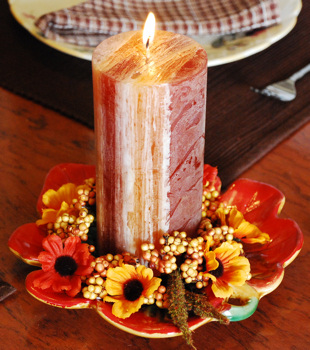 Brown Pillar Candle Centerpiece - Thanksgiving Table Decorating