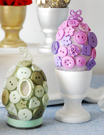 Button Covered Easter Eggs