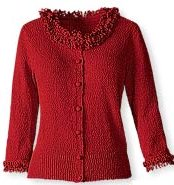 Ruby Red Loopy-fringed Cardigan by Coldwater Creek