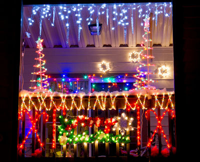 The Balcony of an apartment in La Grange, GA decked up for Christmas. Photo Credits: Sussman Imaging