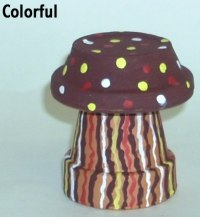 Clay pot mushroom in colorful pattern