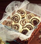 Cookies will never fail you as Christmas gifts. Shown here is a basket full of Pinwheel Cookies.