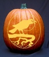 Crow on a Branch Pumpkin Carving Pattern