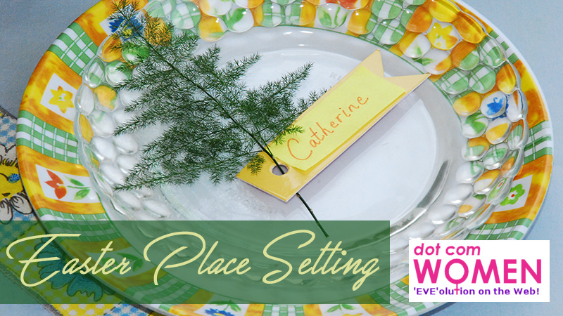 Easter Place Setting Idea with Fern and Other Greens