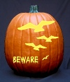 Flying Eagles and 'Beware' text Pumpkin Carving pattern