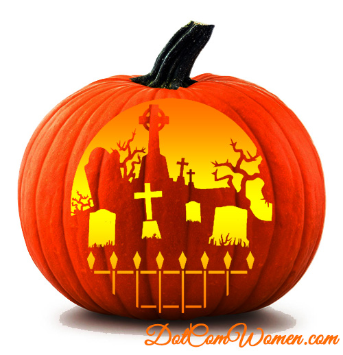 Graveyard pumpkin carving pattern free halloween