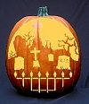 Graveyard Pumpkin Carving Pattern