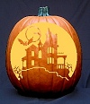 'Haunted House' Pumpkin Carving Pattern