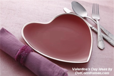 Valentine's Day Table setting with heart shaped plates