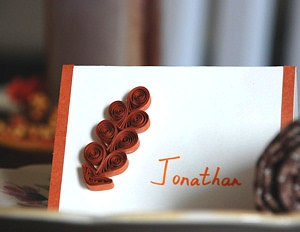 Quilled Oak Leaf Place Cards