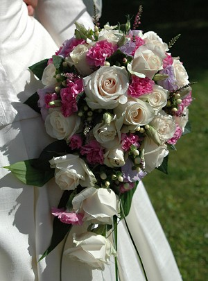White and Pink Rose Wedding Bouquet