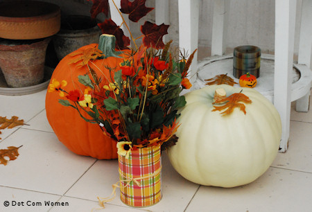 Fall Paper Covered Tins for Fall Porch Decorating