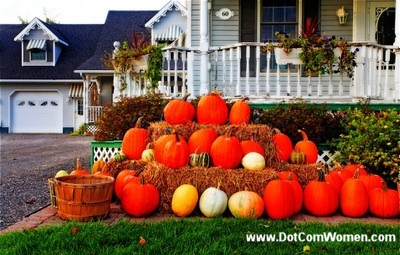 Pumpkins displayed on a hay stack for Fall or Thanksgiving decoration