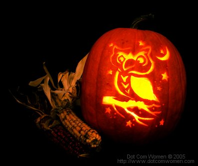 Free pattern for carving 'Owl on a Tree Branch' Pattern Pumpkin