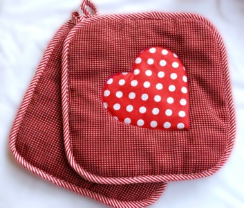 Quilted and Appliquéd Heart Pot Holders