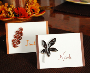 Quilled Fall Leaf Place Cards Fall Thanksgiving Craft