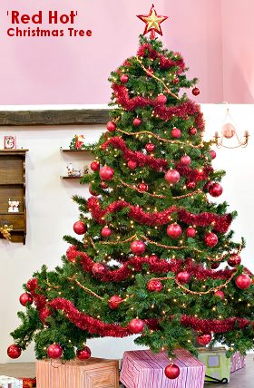 Red hot theme christmas tree christmas tree themes amp color schemes