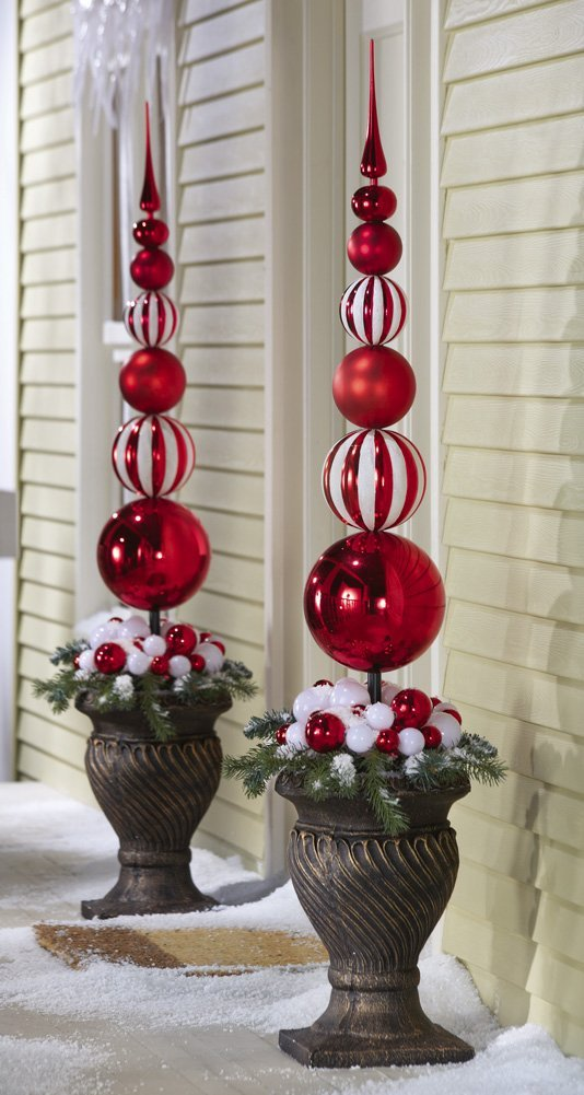 red and white festive topiaries from collections etc