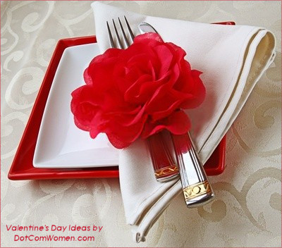Valentine's Day Place Setting with Silk Rose
