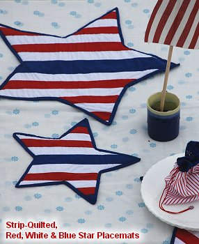 Strip-Quilted Red, White & Blue Star Placemats, Patriotic Craft Project for Independence Day