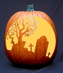 Tombstone Halloween Pumpkin Carving Pattern