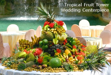 Tropical Fruit Tower Wedding Centerpiece