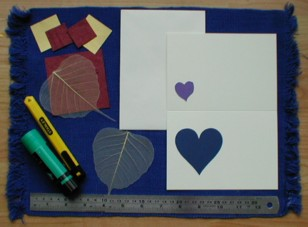 Materials needed for Valentine's Day skeleton leaf card