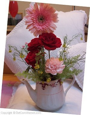 Romantic Pink and Red Flower Arrangement