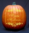 Victorian Scroll Happy Halloween Pumpkin Carving Pattern