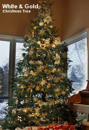 white gold theme christmas tree - Gold Christmas Tree