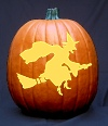 'Witch on Broom' Pumpkin Carving Pattern