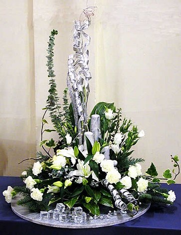 Silver White Festive Arrangement For Christmas Dot Com Women