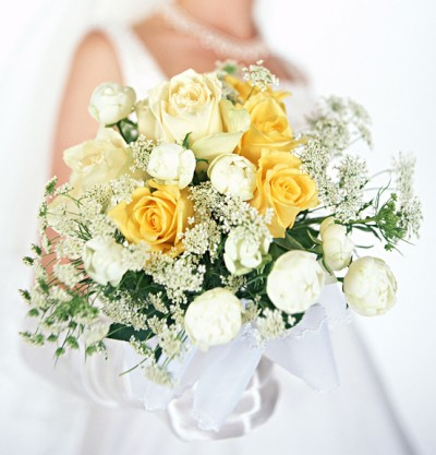 Yellow and White Rose and Peony Wedding Bouquet - Picture Gallery of ...