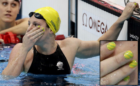 Nail art at the olympics dot com women australian swimmer emily seebohms green and yellow nail art prinsesfo Image collections