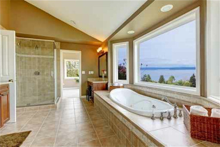 Large Master Bathroom With Windows