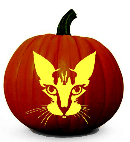 and Print the Free, Scary Cat Face Halloween Pumpkin Carving Stencil