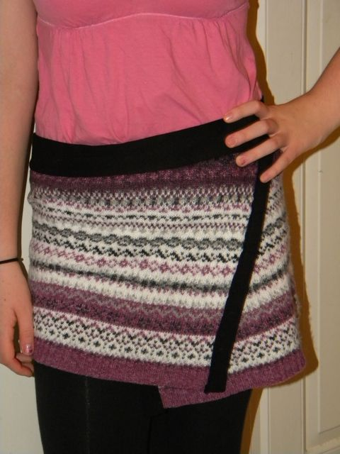 Wrap Skirt made by Recycling an Old Sweater