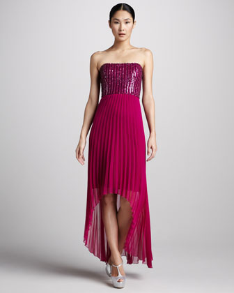 Fuchsia Pleated High Low Cocktail Dress