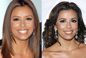 Eva Longoria's Layered Haircut Before and After Flip