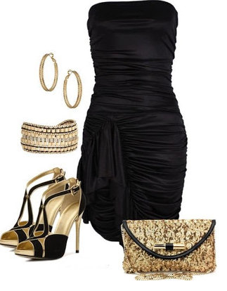 Style black dress with gold accessories