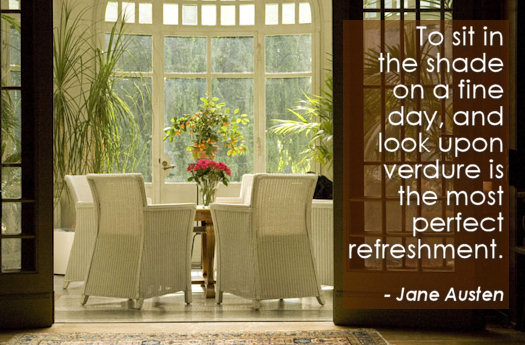 Jane Austen Quote on Relaxing while watching greenery