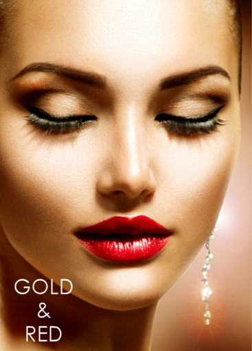 Gold and red party makeup