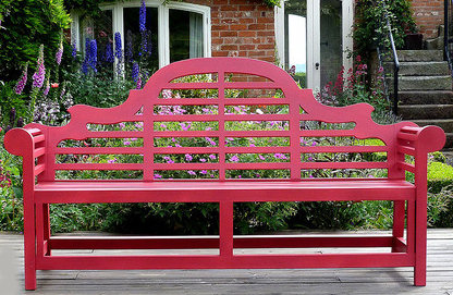 Red Painted Garden Bench